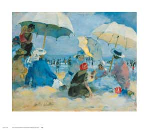 Mothers and Children Under Three Umbrellas