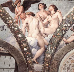 Cupid and the Three Graces 1517 Fresco by Raphael