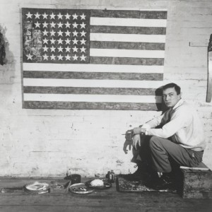johns with flag in studio
