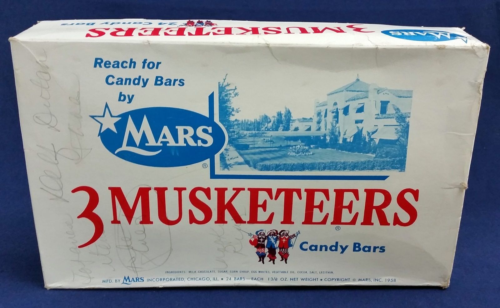 Old 3 Musketeers candy bar box