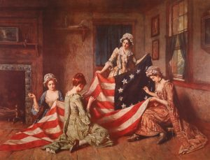 Betsy Ross and assistants sew first flag