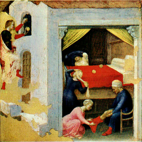 Quaratesi Altarpiece - St. Nicholas and three poor maidens by Gentile da Fabriano
