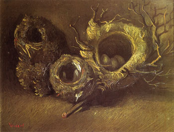 Still Life with Three Birds Nests – (Vincent van Gogh – 1885)
