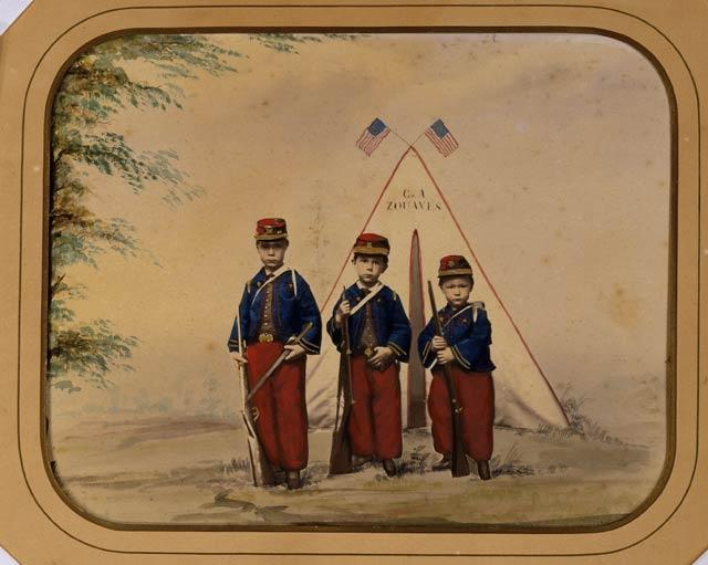 Three Boys in Zouave Costume