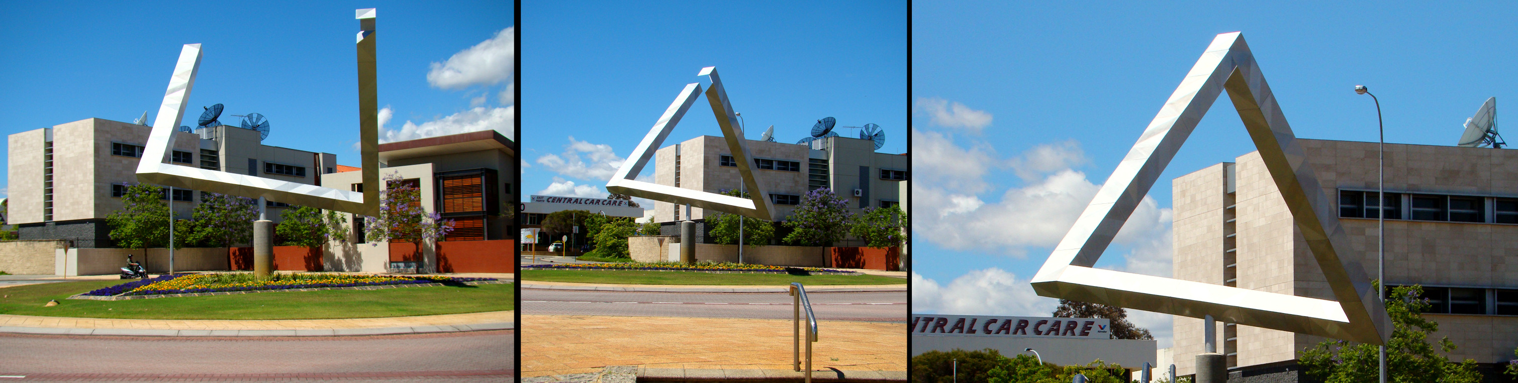 Perth Impossible Triangle - click to enlarge. It depends on your perspective!