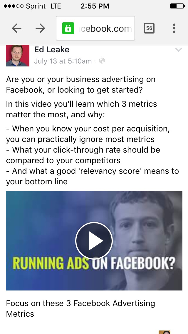 Three Facebook metrics