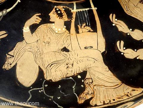 Muse with cithara | Paestan red-figure lekanis C4th B.C. | Musée du Louvre, Paris