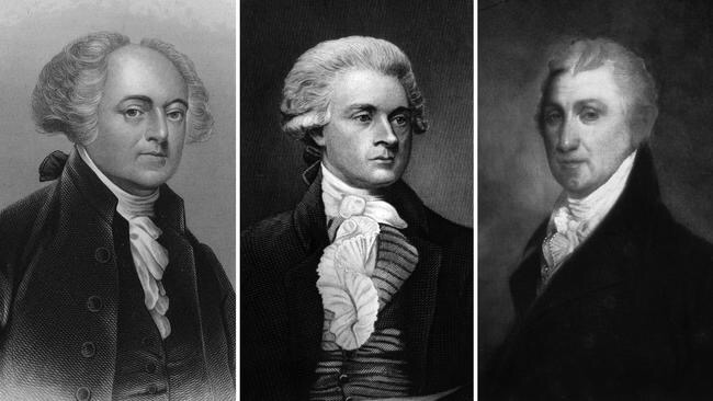 From left, John Adams, Thomas Jefferson and James Monroe