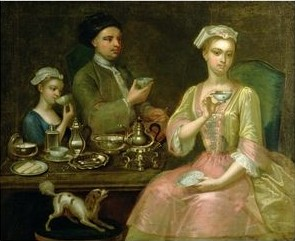 A Family of Three at Tea circa 1727- by Johann Zoffany