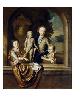 A Group Portrait of Three Children Standing at a Niche, a Garden Beyond by Barent Graat