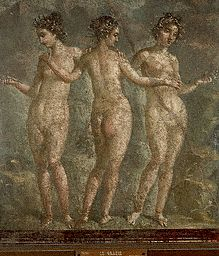 Ancient Roman Fresco Painting of The Three Graces