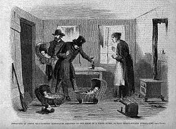 Discovery of Three Half-Starved Alms-House Children in the Room of a Hired Nurse, 152 East Thirty-forth