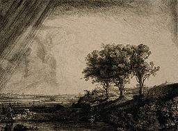 Landscape with Three Trees by Rembrandt Harmensz van Rijn