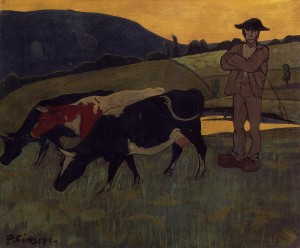 Peasant with Three Cows - (Paul Serusier - 1893)