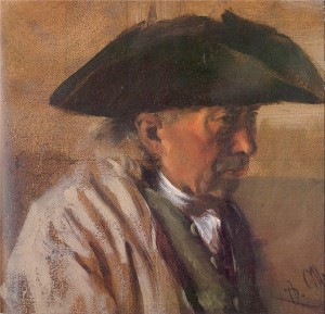 Peasant with a Three-Cornered Hat, 1850-60 by Menzel, Adolf von