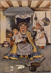 The Duchess Was Sitting on a Three-Legged Stool, Nursing a Baby Illustration by Milo Winter