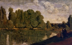The Rhone - Three Women on the Riverbank Seated on a Tree Trunk - (Jean-Baptiste-Camille Corot - circa 1850-1855)