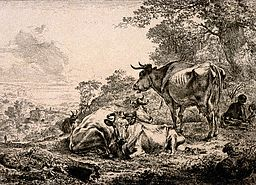 Three Cows Resting by Nicolas Berghem