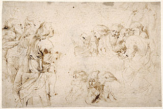Three Groups of Apostles in a Last Supper (recto); Three Sketches for Medea and Her Children (verso) sm