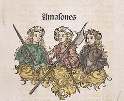 Woodcut Print with Medieval Depiction of Three Knights from Liber Chronicarum Compiled by Hartmann Schedel