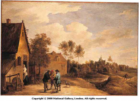 a view of a village with three peasants talking in the foreground by teniers the younger, david