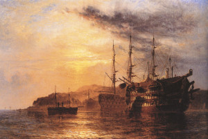 A Three Deck laying by a Hulk with a Steamship heading to shore off the Devonshire coast by Henry Thomas Dawson
