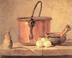 Copper Cauldron with Three Egg