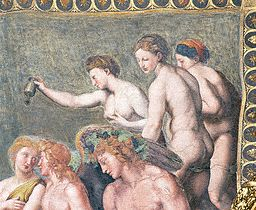 Detail of The Three Graces from Wedding of Cupid and Psyche by Raphael