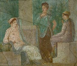 Fresco Painting of Three Women Conversing From Herculaneum