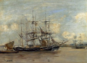 Le Havre, Three Master at Anchor in the Harbor - (Eugene-Louis Boudin - 1878-1879)