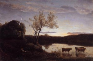 Pond with Three Cows and a Crescent Moon - (Jean-Baptiste-Camille Corot - circa 1850)