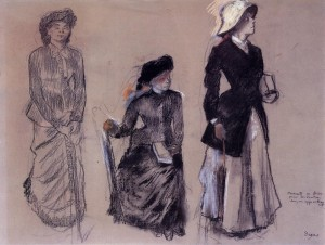 Project for Portraits in a Frieze - Three Women - (Edgar Degas - 1879)