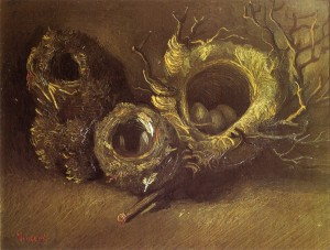 Still Life with Three Birds Nests - (Vincent van Gogh - 1885)