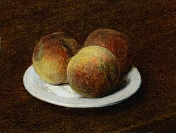 Three Peaches On a Plate by Henri Fantin-Latour