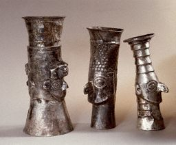 Three Peruvian Silver Ritual Drinking Vessels